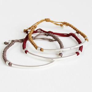 silverbar knot bracelet(3colors) : 실버바 매듭팔찌